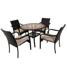 San Pico 5 Piece Outdoor PE Wicker Dining set