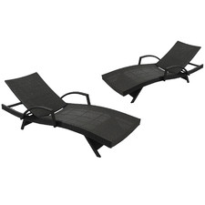 Grey Hilda PE Wicker Sun Lounges with Arm Rest (Set of 2)