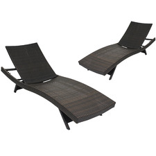 Hilda PE Wicker Sun Lounges (Set of 2)