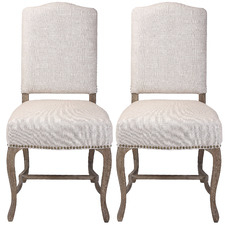 French Country Linen Dining Chair With Stud Feature (Set of 2)
