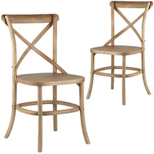 Cross Back Parisian Dining Chairs with Solid Seats (Set of 2)