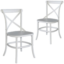 White Zola Cross Back Oak Wood Dining Chairs (Set of 2)
