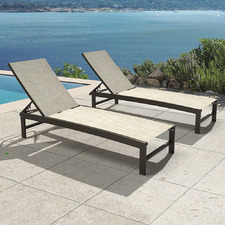 Casella Aluminium & Textilene Adjustable Sun Lounges (Set of 2)