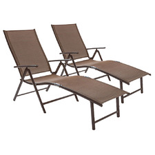 Casella Aluminium & Textilene Adjustable Curved Sun Lounges (Set of 2)