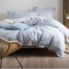 Deluxe Waffle Soft Blue Quilt Cover Set