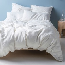 White Nimes Linen Quilt Cover Set