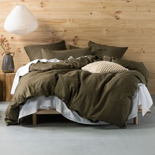 Olive Nimes Linen Quilt Cover Set
