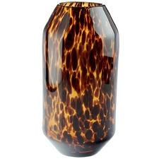 Brown Cynthia Tortoiseshell Glass Vase