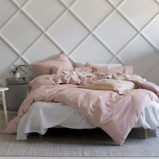 Rose Pink Nimes Linen Quilt Cover Set
