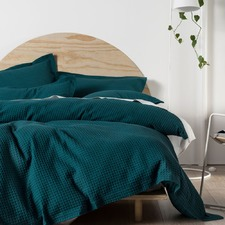 Teal Deluxe Waffle Quilt Cover Set