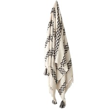 Monochrome Tassel Trim Throw