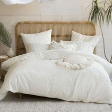 White Mickael Cotton Quilt Cover Set