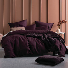 Wine Nimes Linen Quilt Cover Set