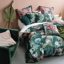 Teal Fernanda Cotton Quilt Cover Set