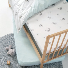 Blue Whale of a Time Cotton Fitted Cot Sheets (Set of 2)