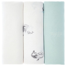 Blue Whale of a Time Cotton Baby Wraps (Set of 3)