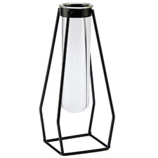 Clear Nero Iron Framed Glass Vase