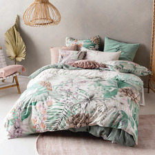Mint Lorena Cotton Quilt Cover Set
