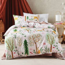 Multi-Coloured Woodlandia Cotton Quilt Cover Set