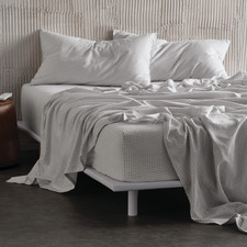 Silver Printed Flannelette Melville Cotton Sheet Set