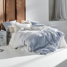 Blue Lagos Cotton Jacquard Quilt Cover Set