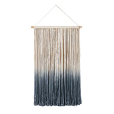 Blue Frieda Fringed Cotton Wall Hanging