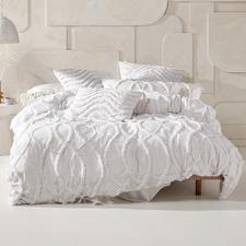 White Amadora Cotton Chambray Quilt Cover Set