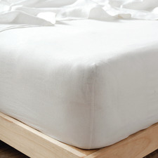 White Nimes Linen Fitted Sheet