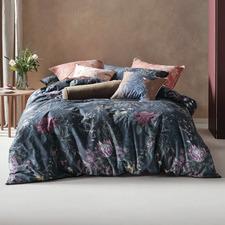 Navy Acacia Garden Cotton Quilt Cover Set