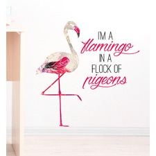 Flamingo in a Flock of Pigeons Wall Decal