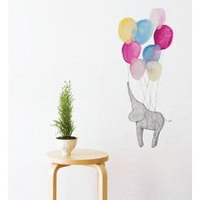 Elephant On Balloon Wall Decal