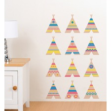 Colourful Tee Pees Wall Decal
