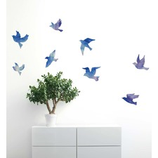 watercolor flock of birds wall decal - Wall Decals
