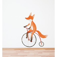Fox On A Bike Wall Decal
