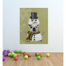 English Bulldog & Snowman Costume Wall Sticker