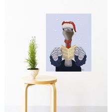 Ostrich Singing Christmas Carols Wall Sticker