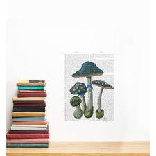 Mushrooms On Newspaper Wall Sticker