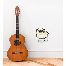 Angry White Pug Wall Sticker