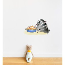 Smart Pug Eating Pie With Straw Wall Sticker