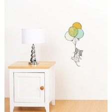 White Cat Floating With Balloons Wall Sticker