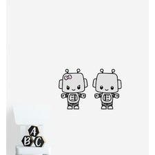 Two Cute Robot Friends Wall Sticker