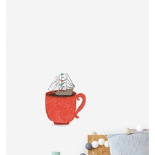 Ship In A Cup Wall Sticker