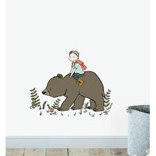 Boy Riding Bear In The Wild Wall Sticker