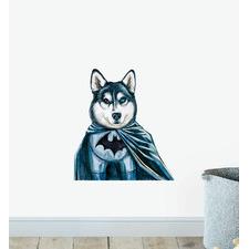 Batman Husky Superhero Dog Wall Sticker