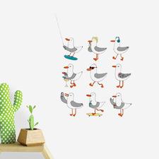 9 Piece Summer Seagulls Wall Decal