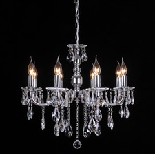 French Inspired 8 Light Crystal Chandelier In Chrome