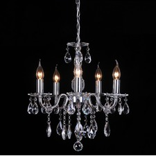French Inspired 5 Light Crystal Chandelier In Chrome
