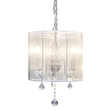 White Paris 3 Light Metal & Glass Chandelier