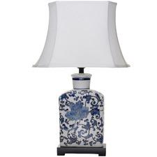 White & Blue Mademoiselle Ceramic Table Lamp