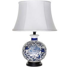 White & Blue Monsieur Ceramic Table Lamp